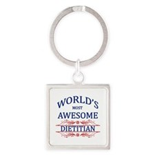 World's Most Awesome Dietitian Square Keychain