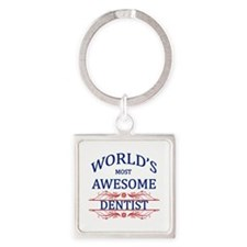 World's Most Awesome Dentist Square Keychain