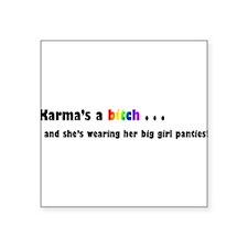 "karma.png Square Sticker 3"" x 3"""