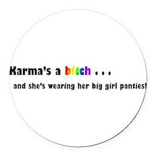 karma.png Round Car Magnet