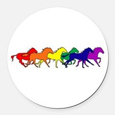 horses running rainbow.png Round Car Magnet