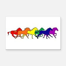 horses running rainbow.png Rectangle Car Magnet