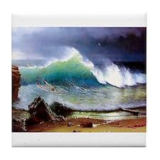The Shore of the Turquoise Sea Tile Coaster