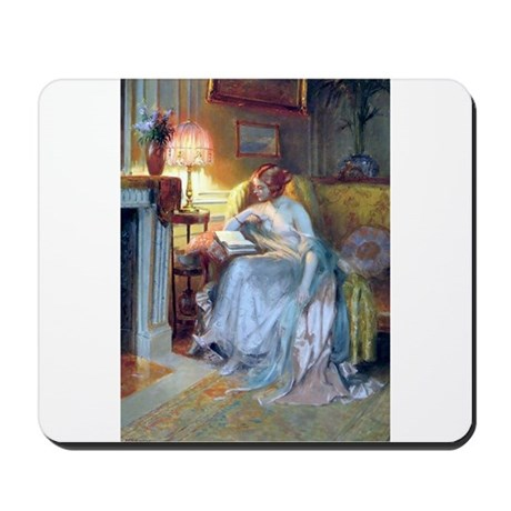 Lady reading by lamp Mousepad