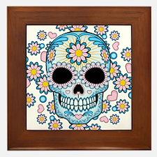 Colorful Sugar Skull Framed Tile