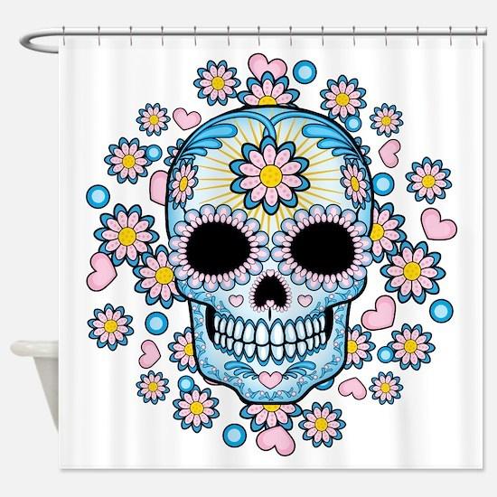 Colorful Sugar Skull Shower Curtain