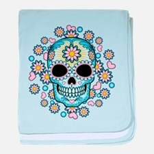 Colorful Sugar Skull baby blanket