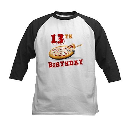 13th Birthday Pizza party Kids Baseball Jersey