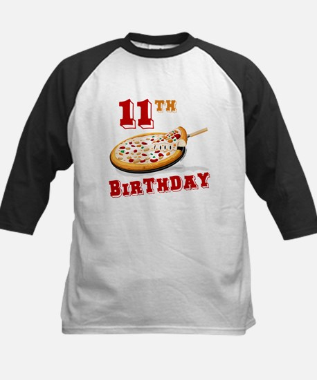 11th Birthday Pizza Party Kids Baseball Jersey