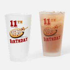 11th Birthday Pizza Party Drinking Glass
