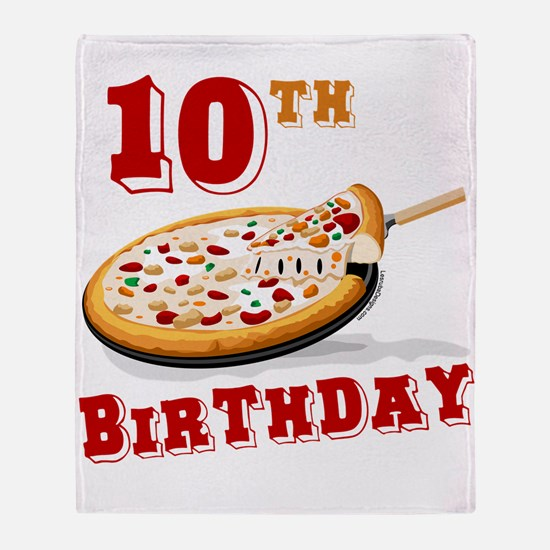 10th Birthday Pizza Party Throw Blanket
