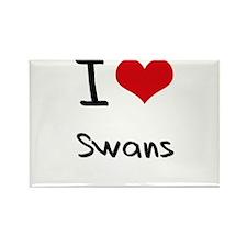 I love Swans Rectangle Magnet