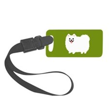 White Pomeranian Luggage Tag