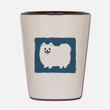 White Pomeranian Shot Glass