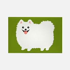 White Pomeranian Rectangle Magnet