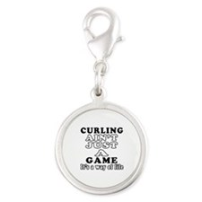 Curling ain't just a game Silver Round Charm