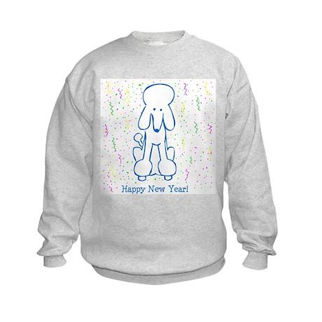 Happy New Year Poodle Kids Sweatshirt
