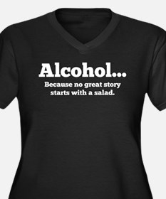 Alcohol Women's Plus Size V-Neck Dark T-Shirt
