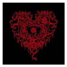 Ornate Red Gothic Heart 5.25 x 5.25 Flat Cards