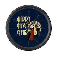 Retro Happy New Year Large Wall Clock