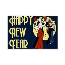 Retro Happy New Year Rectangle Magnet