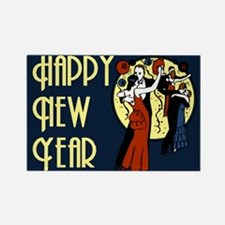 Retro Happy New Year Rectangle Magnet