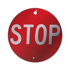 Stop Sign Ornament (Round)