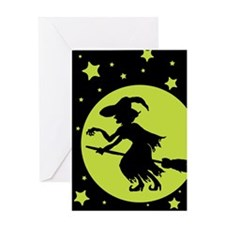 Retro Green Witch Silhouette Greeting Card