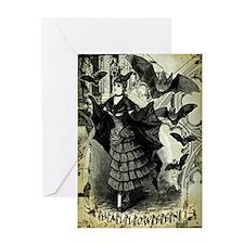 Victorian Halloween Bat Collage Greeting Card