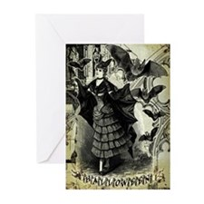 Victorian Halloween Bat Collage Greeting Cards (Pk