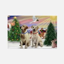 Treat for 2 Yellow Labs Rectangle Magnet