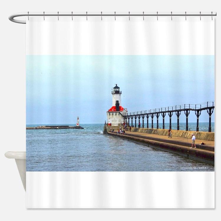 michigan lighthouse shower curtains | michigan lighthouse fabric