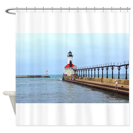 michigan city lighthouse shower curtain