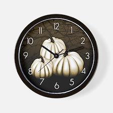 White Pumpkins Wall Clock