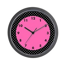 White and Black Polka Dot Pattern Wall Clock