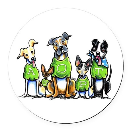 CafePress Adopt Shelter Dogs Round Car Magnet
