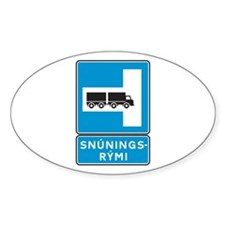 Place for turning left - Iceland Oval Decal