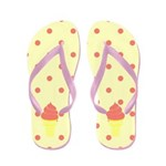 Ice Cream Cone and Polka Dots Flip Flops
