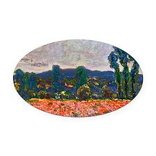 Monet - Poppy Field Oval Car Magnet