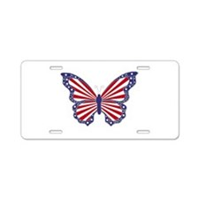 Patriotic Butterfly Aluminum License Plate