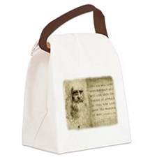 Da Vinci Animal Quote Canvas Lunch Bag