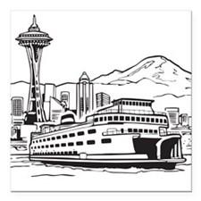 "Space Needle and Ferry Square Car Magnet 3"" x 3"""