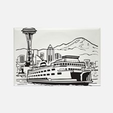 Space Needle and Ferry Rectangle Magnet