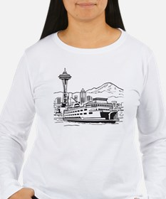 Space Needle and Ferry Long Sleeve T-Shirt