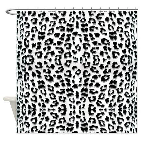 Snow Leopard Print Shower Curtain by cutetoboot