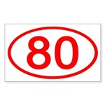 Number 80 Oval Rectangle Sticker