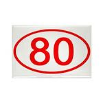 Number 80 Oval Rectangle Magnet
