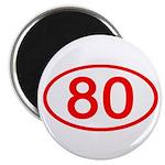 Number 80 Oval Magnet