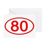 Number 80 Oval Greeting Cards (Pk of 10)