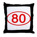 Number 80 Oval Throw Pillow